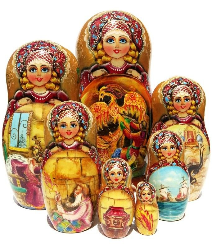 Russian Fairytale 7 Piece Nesting Doll - GreatRussianGifts.com