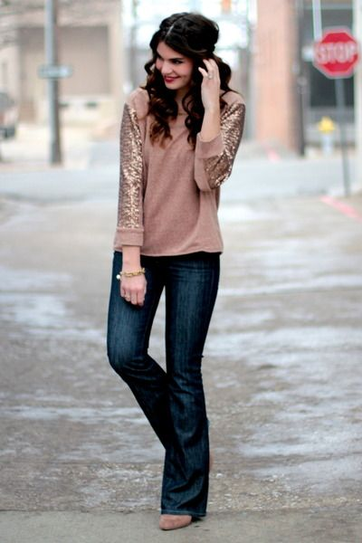 Sequin Sleeve Top and Seven Jeans