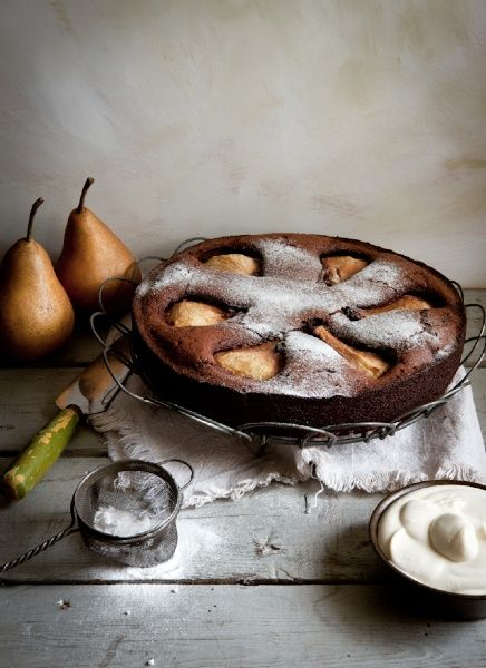 ... flourless chocOlate cake with pear macadamia and creme chantilly ...