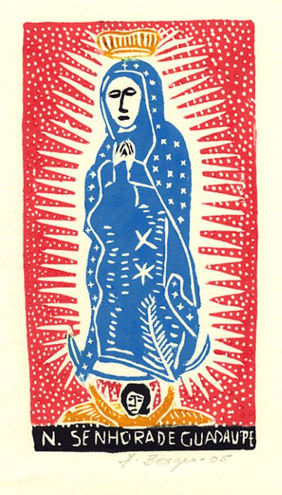 N. Senhora de Guadalupe (color), José Francisco Borges (Brazil), Woodcut print on paper (7 5/8 x 4 1/8), 2005