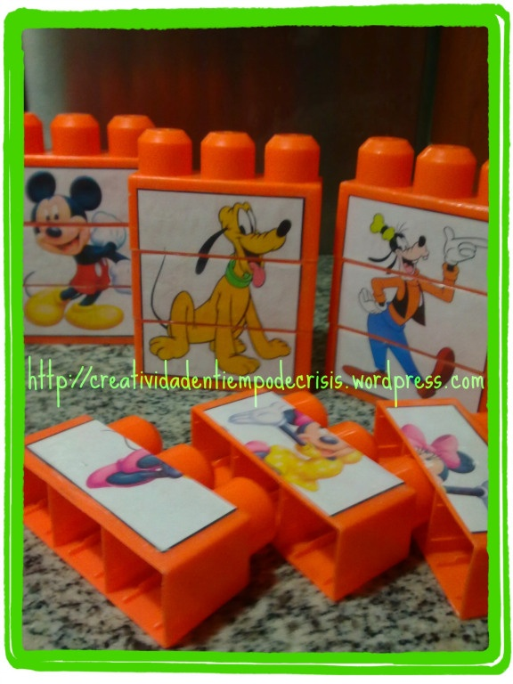 DIY baby and toddler first puzzles. Put pieces of images on duplo mega blocks