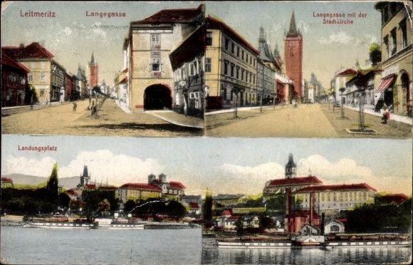 Ansichtskarte / Postkarte Litoměřice Leitmeritz Reg. Aussig, Langegasse, Stadtkirche, Landungsplatz