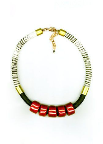 BLACK-WHITE CORD CERAMIC NECKLACE
