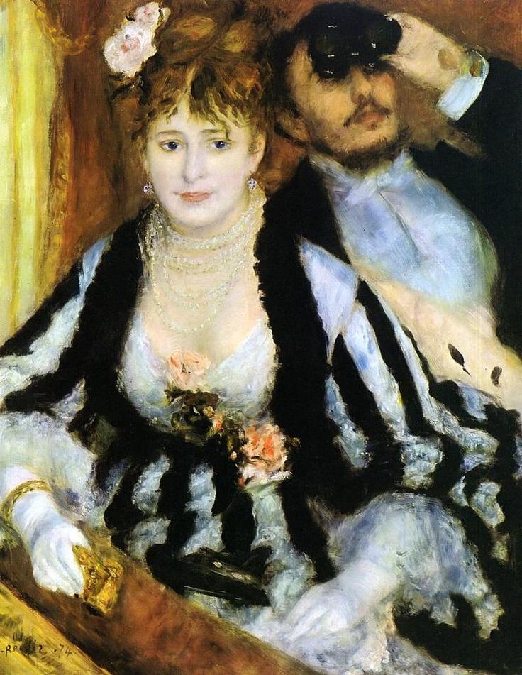 < 르누아르 '특별관람석' (1874), 유화, 80 x 63.5cm > 이 작품은 파리 상류층의 쾌락적인 일상을 보여주고 있다. 검은 모피로 장식한 하얀색 실크 드레스를 입은 여인이 손에 오페라 망원경을 들고 특별석 난간에 기대어 앉아 있고 그녀 옆에 있는 남자는 오페라 망원경을 치켜들고 위를 바라보고 있다. 남자가 망원경을 들고 있는 것에 반해 망원경을 손에 들고 있는 여자는 무대에 관심이 없다는 것을 나타내며 남자에게 등을 돌리고 앉아 특별석 난간에 팔을 기대고 있는 자세는 여자가 자신의 아름다움을 관객들에게 보여주기 위해서라는 것을 암시한다. 이 작품에서 분홍색의 꽃과 진주 목걸이는 피부를 가리지 않으면서도 여인의 도자기 같은 피부를 강조하고 있으며 검정색 모피는 어깨가 드러난 여자의 옷을 선명하게 해주고 있다