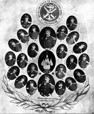 Cuadro de oficiales del Batallón Cívico de Artillería Naval durante la Guerra del Päcífico.
