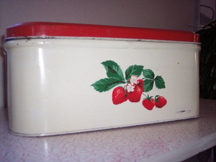 Vintage metal strawberry bread box mid-century. $20.00, via Etsy.
