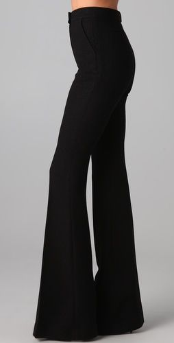 High-waisted flare black pants - would make you look so skinny and your legs look a mile long!