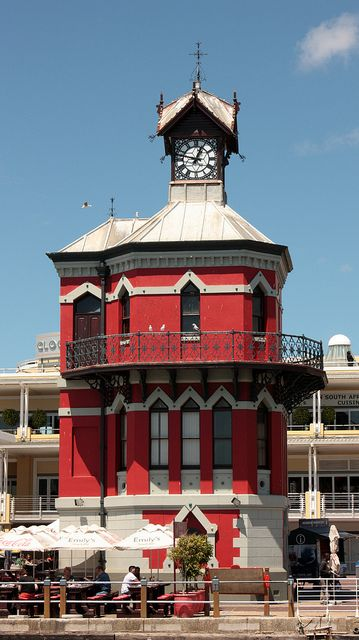 Waterfront Clock Tower, Cape Town SOUTH AFRICA  Ornate Victorian waterfront tower built in 1882 of red brick, with harbor & city views from inside