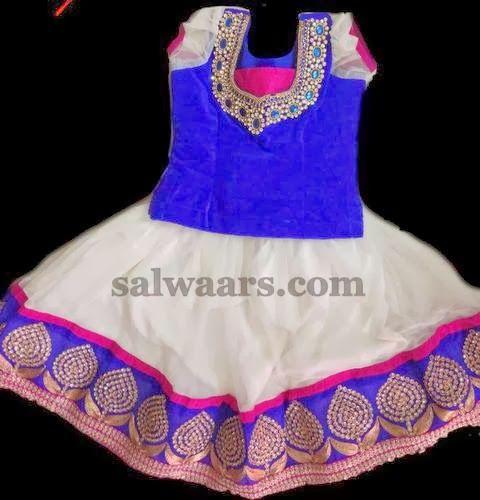 Indian Dresses: White Lehenga with Kundan Border