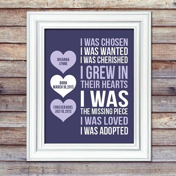 Adoption Print With Details  I Was Chosen by AugustBloomDesigns, $13.95  Adoption Gift