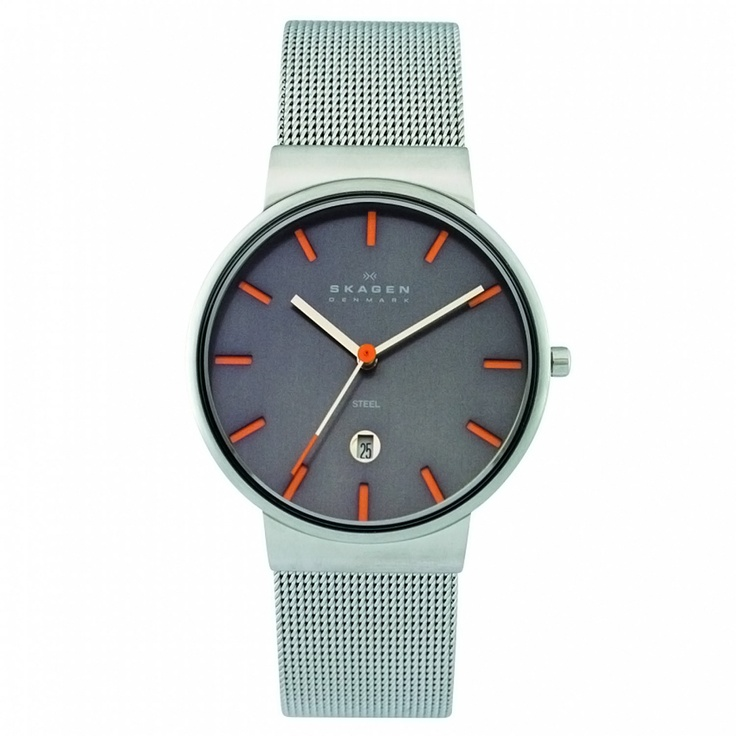 Skagen Mens Grey Slimline Mesh Band Watch - $80