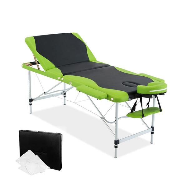 Aluminium Massage Table 3 Fold Green Black – Click Online Sales