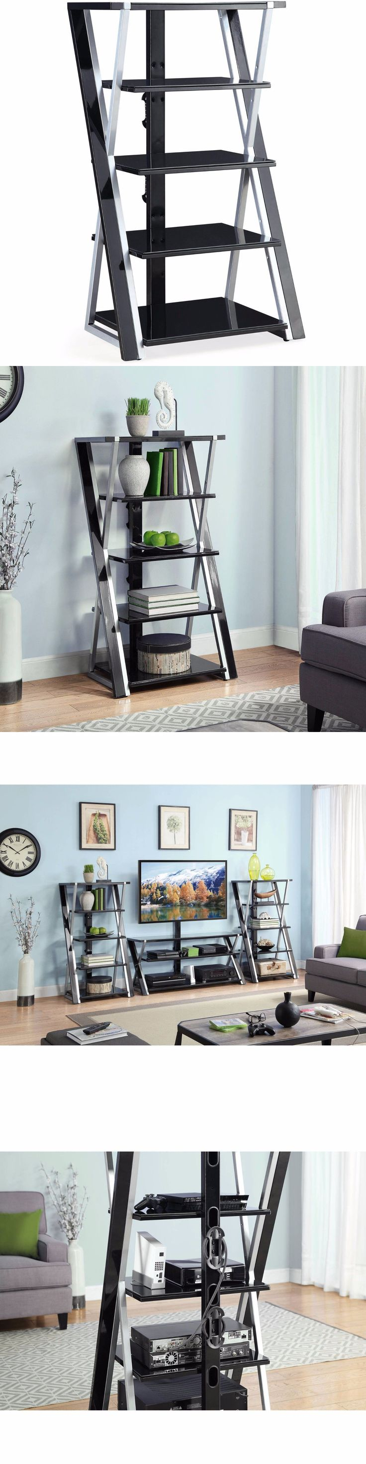 Entertainment Units TV Stands: Stereo Rack Tower Storage Audio Stand Shelves Equipment Cabinet Table Console -> BUY IT NOW ONLY: $90.97 on eBay!