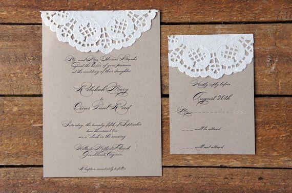 Sample Doily Wedding Invitation Set by AmandaDayRose on Etsy
