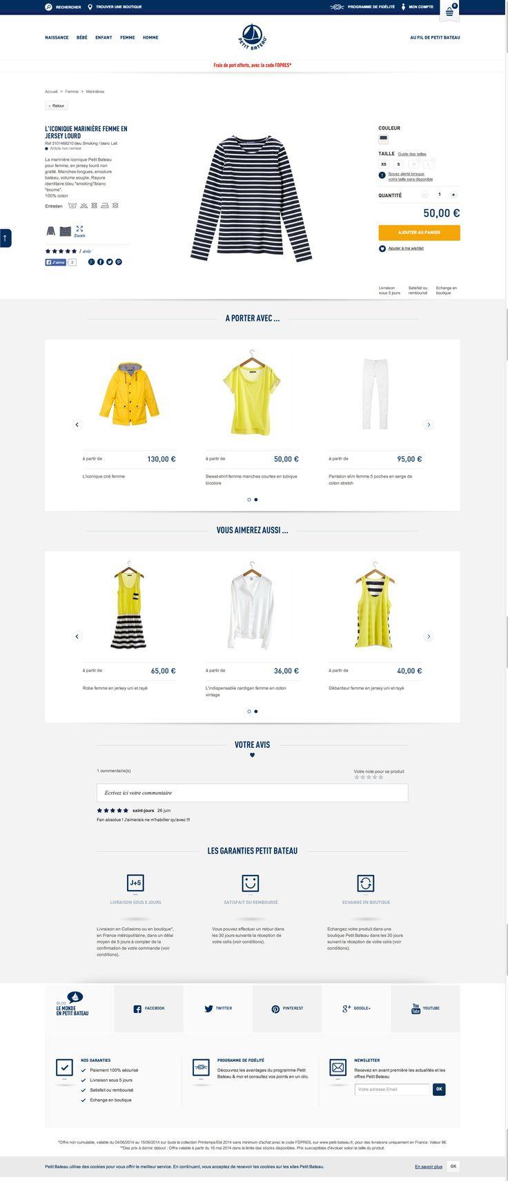 Page produit Petit bateau #responsive - http://www.petit-bateau.fr/e-shop/product/31014/6C8/l-iconique-mariniere-femme-en-jersey-lourd.html