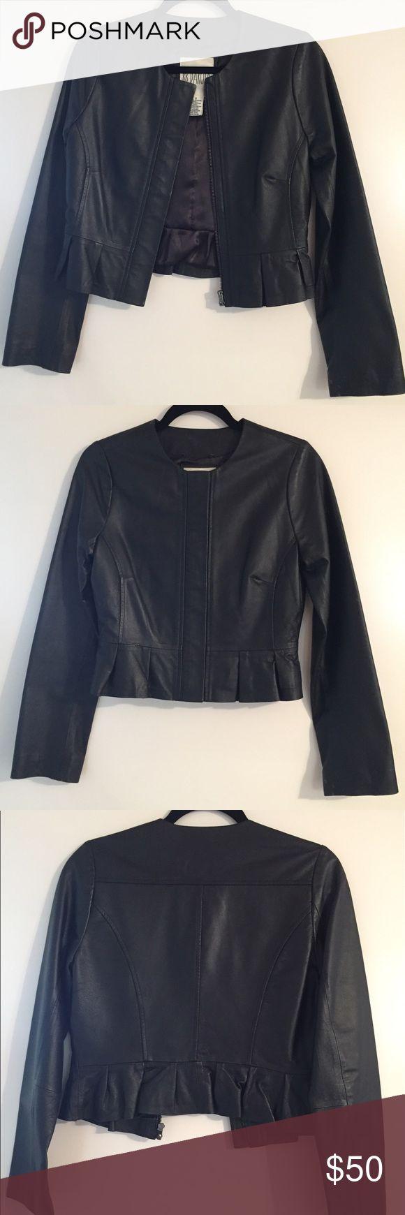 BB Dakota Black Leather Jacket size Small S Gently used BBDakota Genuine Leather Jacket with ruffle detail in size Small. BB Dakota Jackets & Coats