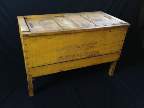 WOOD COCA COLA ICE CHEST Wooden Box Cooler Vtg Antique Old Original Yellow  RARE
