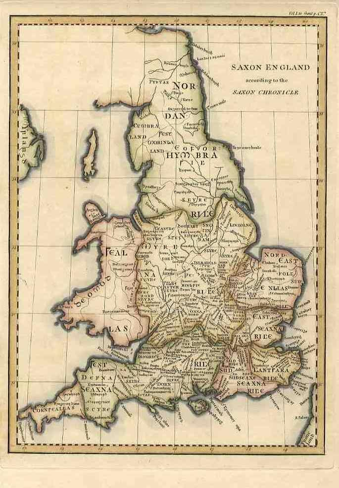 """Cornweallas"" shown on an early 19th-century map of ""Saxon England"" (and Wales) based on the Anglo-Saxon Chronicle."