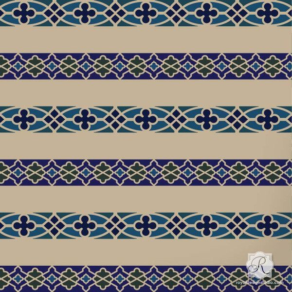 Paint a decorative border on furniture or fabric with our Fretwork Border Craft Stencils. You can use contrasting paint colors or stencil embossing with these c
