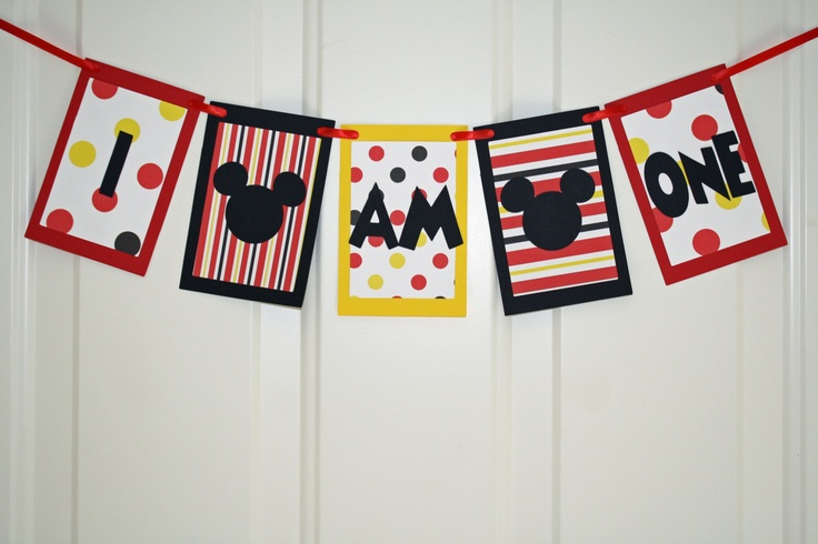 Mickey Mouse Birthday Banner - maybe with just the Mickey silhouette instead of words?