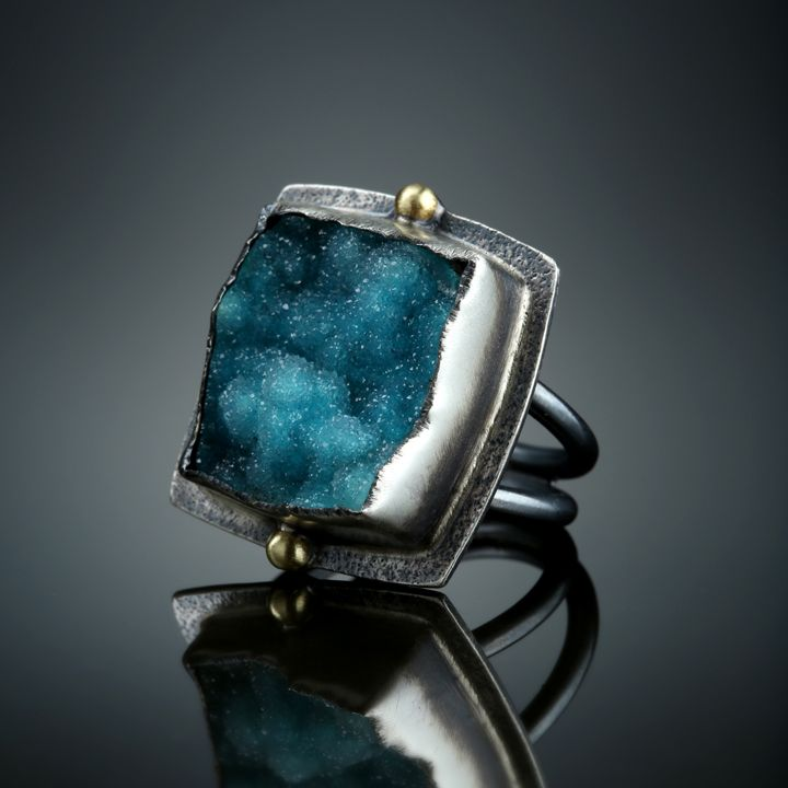 Druzy Chrysocolla Ring. Fabricated Sterling Silver and 18k Gold. www.amybuettner.com https://www.facebook.com/pages/Metalsmiths-Amy-Buettner-Tucker-Glasow/101876779907812?ref=hl https://www.etsy.com/people/amybuettner http://instagram.com/amybuettnertuckerglasow
