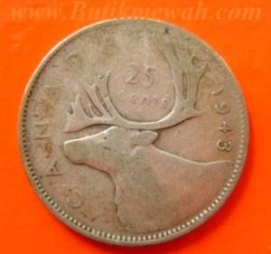 1943 silver Canadian quarter