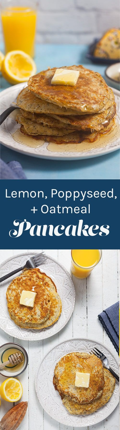 Lemon Poppy Pancakes are a delicious twist on a classic breakfast. They're made with wholesome ingredients like coconut milk and oats and they're naturally sweetened with honey, so you can feel good about feeding them to your family. ~ http://www.healthy-delicious.com