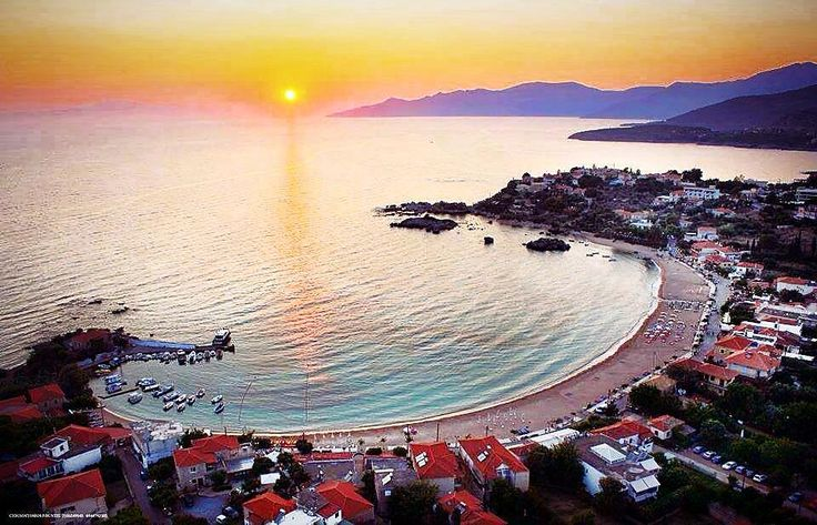 The magnificent sunset in the bay of Stoupa, Messinia