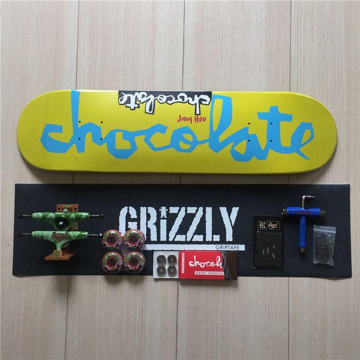 Skateboard Set Chocolate Deck & ABEC-3 Bearings Ruckus Trucks Girl Wheels with Complete Skateboard Accessories #Affiliate