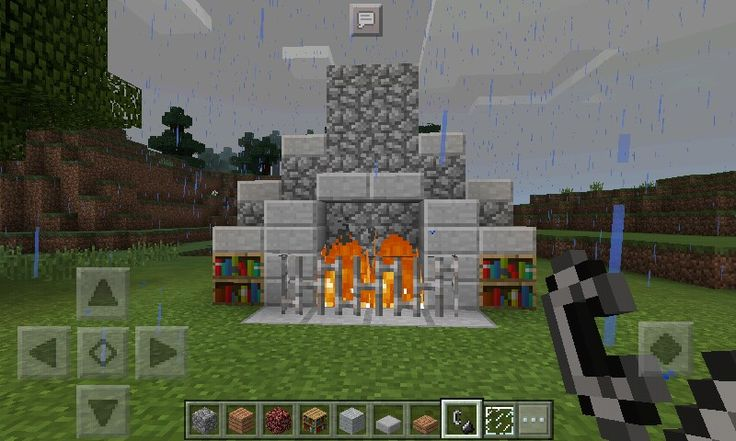 Easy fire place ideas😄. All you need is -cobblestone  -neatherrack -bookcase -iron bars -stone slab