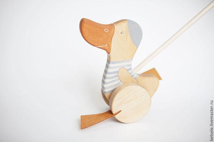 Купить Каталка Утенок на палочке - голубой, игрушка ручной работы, игрушка из дерева, деревянная игрушка