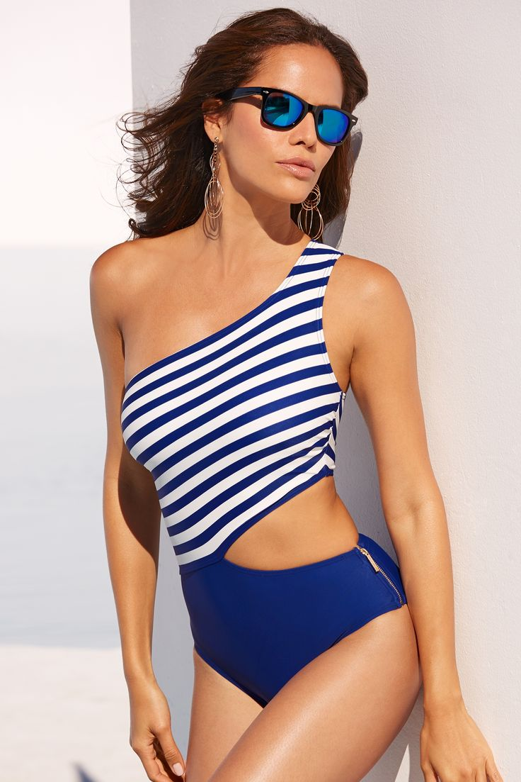 Sexy Swimwear | Women's Blue and White One Shoulder Cutout One-Piece Swimsuit by Michael Kors.