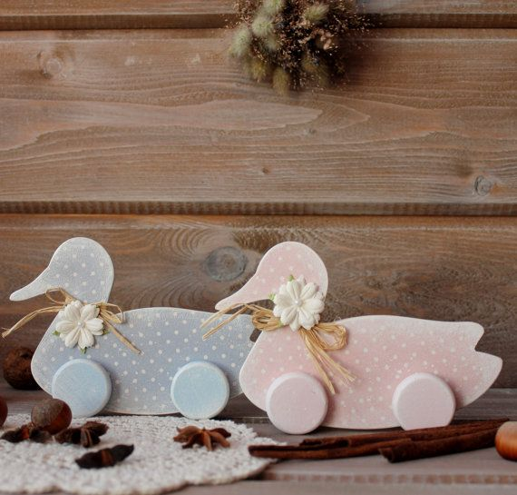 Two ducks interior for your home. Made of birch plywood, pastel shades of pink and blue, polka dots, in the style of Provence, country. Ducks - a symbol of family happiness... #etsy