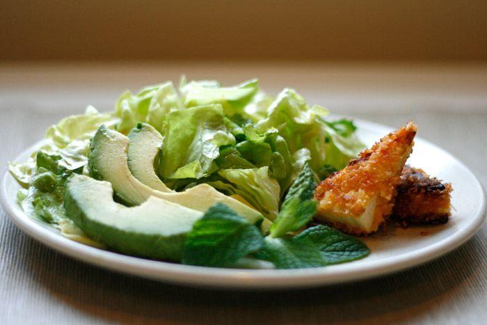 Well Vegan, Spicy, Crisp Tofu on Mint-Avocado Salad