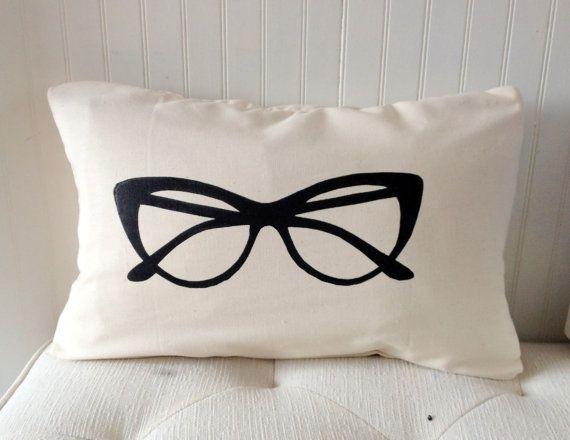 Decorative Pillow - Glasses Pillow Cover  Decorative Pillow  Hand Printed by elisabethmichael, $30.00