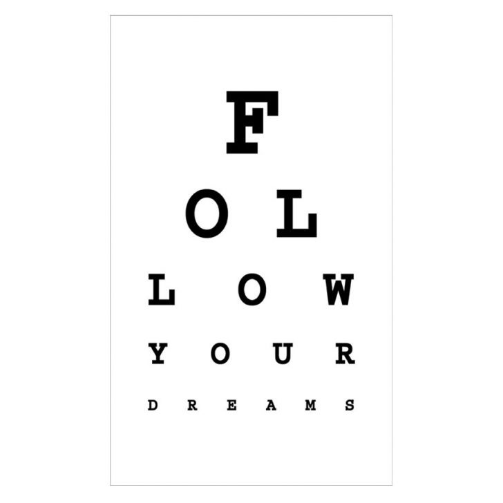 Follow Your Dreams Eye Chart Wall Art, White