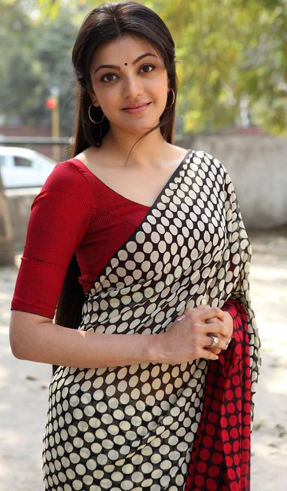 Kajal Agarwal wearing Polka Dots White Chiffon Saree