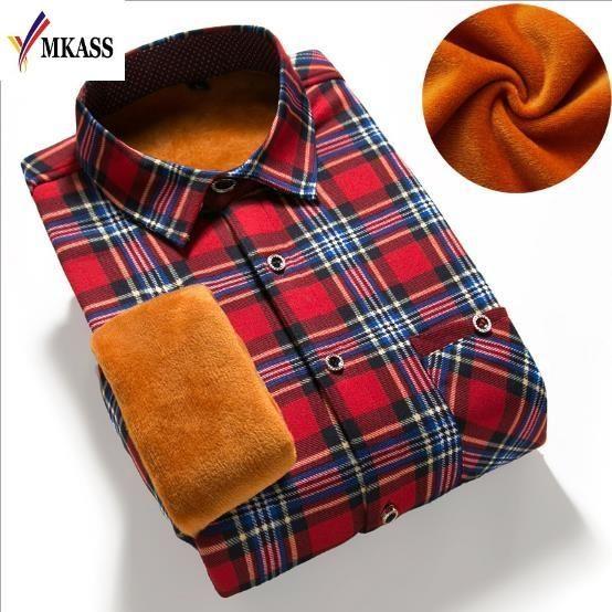 MKASS 2017 Slim Fit Men Winter Long Sleeve Dress Shirt Warm Casual Vintage Corduroy Mens Formal Shirt Camisa Masculina M-3XL