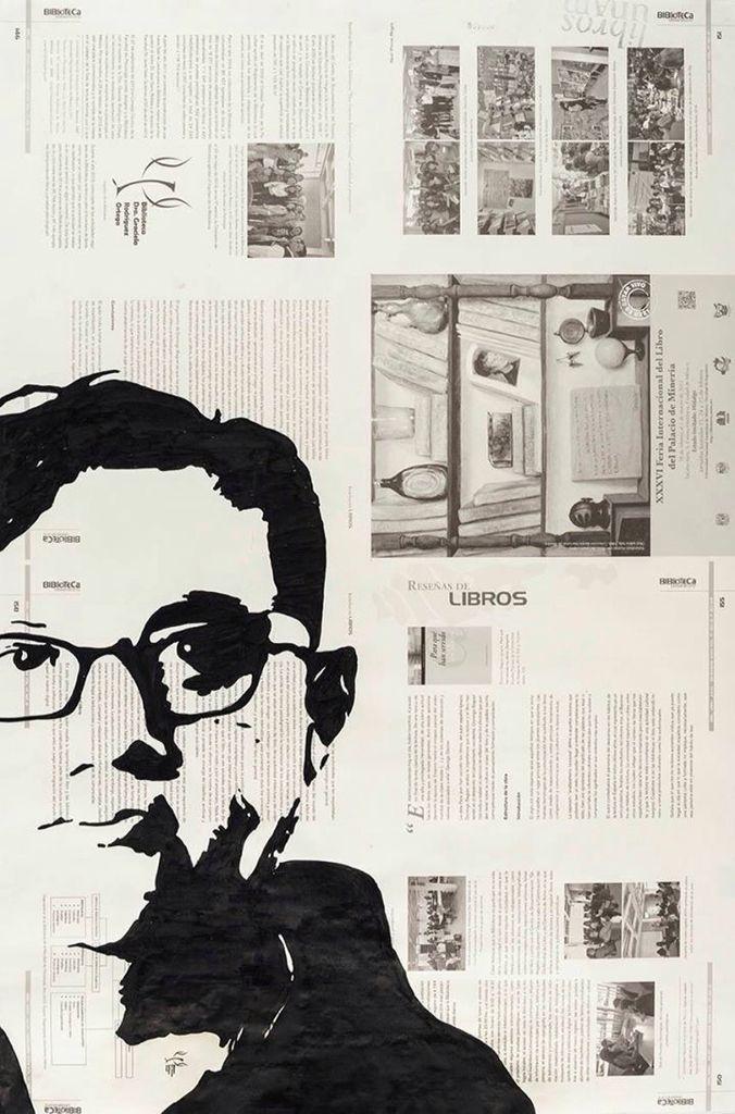 #Retrato de Cuauhtémoc Medina por Aminta Montalvo Lezama. Tinta china sobre papel. Mención #AutoresUNAM #UNAM