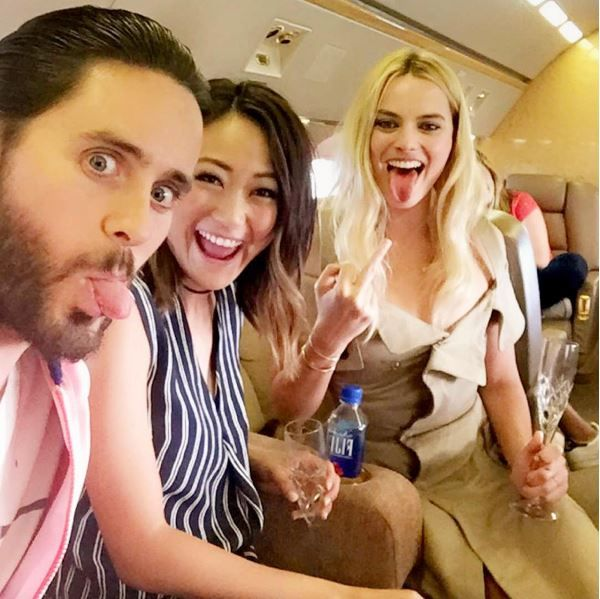 Suicide Squad: Jared Leto, Karen Fukuhara and Margot Robbie (photo via Jared's Instagram)
