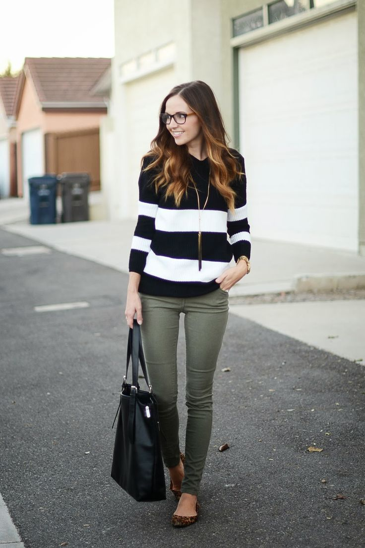 BLACK AND WHITE STRIPE SWEATER, ARMY GREEN PANTS AND LEOPARD FLATS