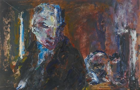 Jack B. Yeats - THERE'S LIFE IN THE FIRE YET, oil...