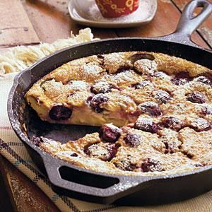 Cherry Clafouti The batter for this traditional French dessert is somewhere between that of a cake and a custard; it most resembles a thick crepe, and it takes no more than 10 minutes to prepare it in the blender. Adapted from a recipe in You Can Trust a Skinny Cook by Allison Fishman, this gorgeous dessert can be made, baked, cooled, garnished, and ready to eat in one hour.