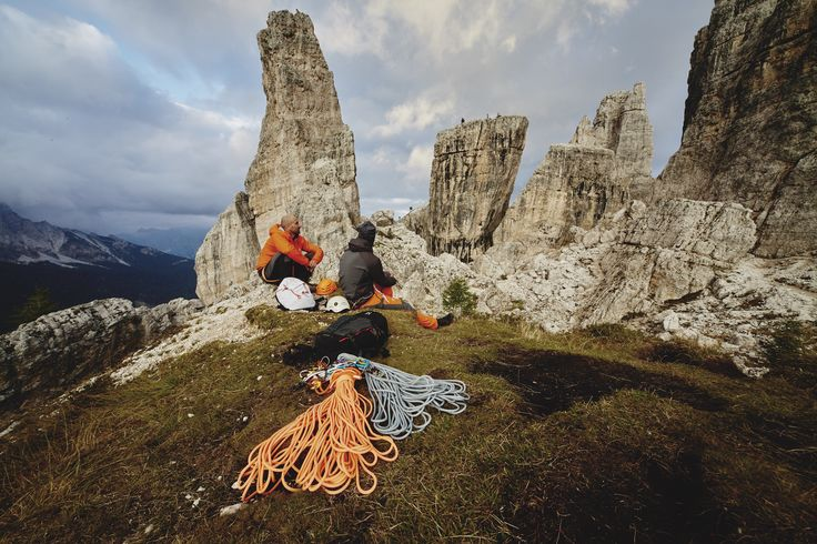 Taking a break from the ropes. The Dolomites, Italy.