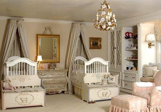 Twin Boy Girl Toddler Room | Lots of storage. Same crib, different color bedding and toy chest trim ...