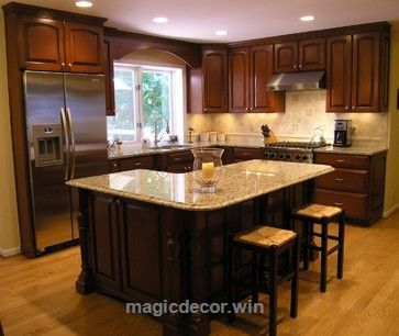 Check it out l shaped kitchen designs with island | Shaped Island Design  Ideas, Pictures
