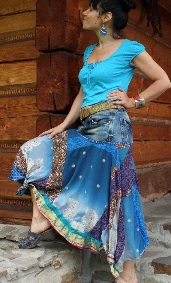Jeans and india sari skirt gypsy boho hippie style by jamfashion, $83.00