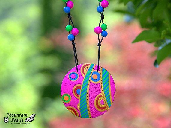 Pink Necklace Eyecatching Pink Pendant  Rainbow Pendant