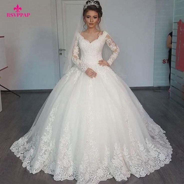 Wunderschöne Sheer Ballkleid Brautkleider 2017 Puffy Lace Perlen Applique Weiß Langarm Arab Brautkleider robe de mariage