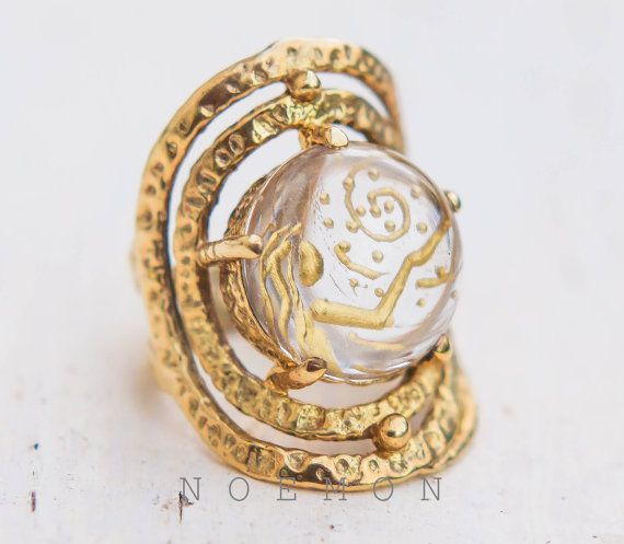 intaglio ringrock crystal quartz 925 silver by NoemonDesignStudio